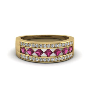 wide kite set diamond wedding band with pink sapphire in FDENS1149BGSADRPI NL YG