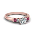 princess cut basket prong diamond ring with pink sapphire in FDENS1172PRRGSADRPI NL RG