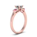 princess cut basket prong diamond ring with pink sapphire in FDENS1172PRRGSADRPIANGLE2 NL RG