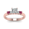 princess cut basket prong diamond ring with pink sapphire in FDENS1172PRRGSADRPIANGLE5 NL RG