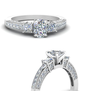 White Gold Cushion Cut Milgrain Engagement Rings