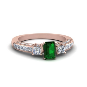 Three Stone Pave Ring With Emerald