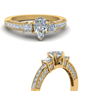 Moissanite Pear Cut Milgrain Rings