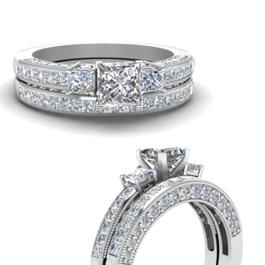 Three Stone Diamond Pave Engagement Set
