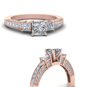 18k Rose Gold Milgrain Rings
