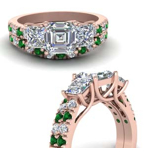 Trellis Emerald Bridal Ring Set