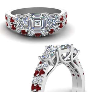 Asscher Cut 3 Stone Wedding Set