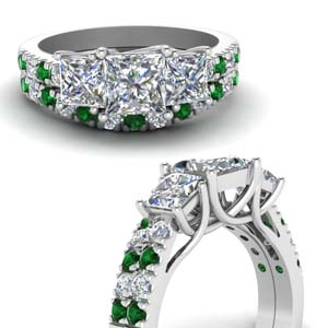 Accent Emerald Wedding Ring Set