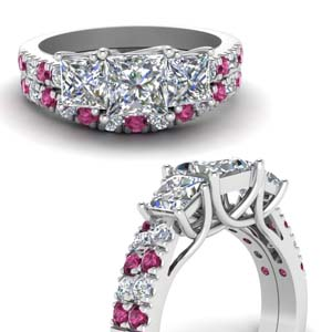 Trellis Pink Sapphire Accented Ring Set