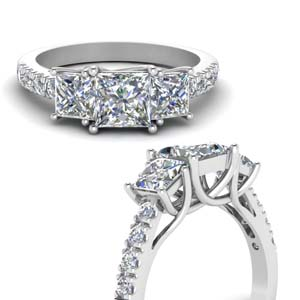 2 Carat Princess Cut Trellis Ring