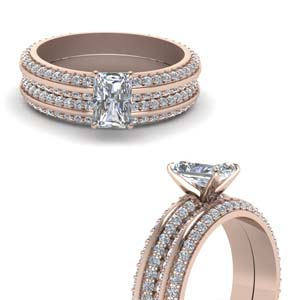 14K Rose Gold Radiant Cut Ring Set