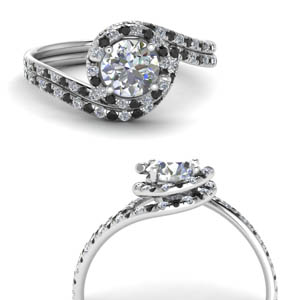 18K White Gold Halo Wedding Set