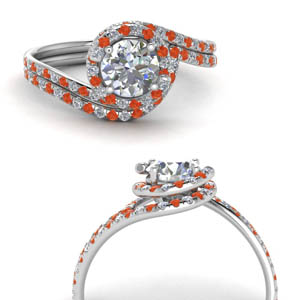 Halo Orange Topaz Bridal Set