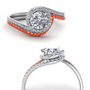 Halo Ring And Orange Topaz Band
