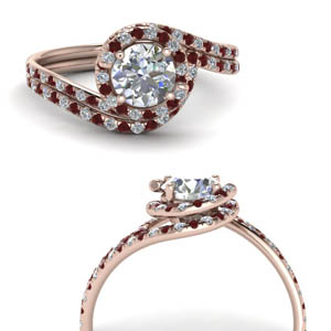 Ruby 18k Rose Gold Ring Set