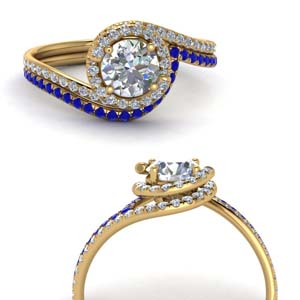 Swirl Halo Ring With Sapphire Band