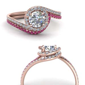 Halo Swirl Bridal Set With Pink Sapphire