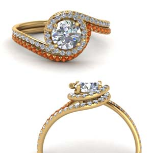 Orange Sapphire Halo Bridal Set