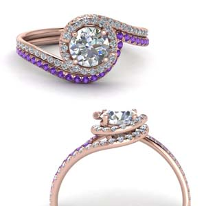 Simple Halo Bridal Set With Purple Topaz