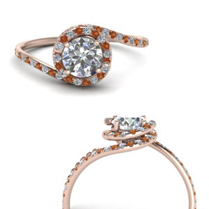 Orange Sapphire Halo Ring Rose Gold