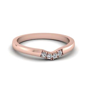 classic 4 diamond curved womens wedding band in 14K rose gold FDENS1413B NL RG