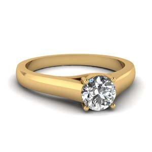 Round Diamond Ring 14K Yellow Gold