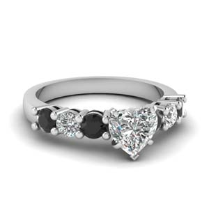 Platinum Black Diamond 7 Stone Ring