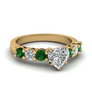 Emerald Heart Diamond Ring