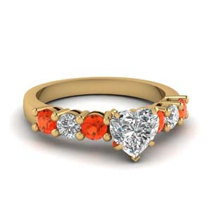 Seven Stone Orange Topaz Ring