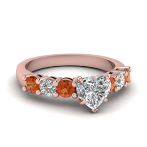 Orange Sapphire Side Stone Ring