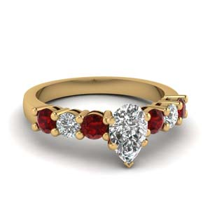 Seven Stone Ring With Ruby
