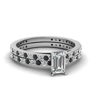 classic delicate emerald cut wedding set with black diamond in FDENS1425EMGBLACK NL WG