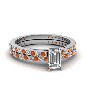 classic delicate emerald cut diamond wedding set with orange sapphire in FDENS1425EMGSAOR NL WG