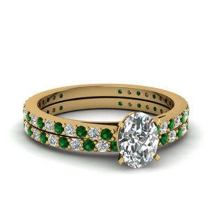 Emerald Pave Diamond Wedding Set