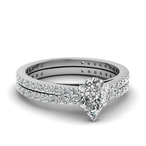 classic delicate pear shaped diamond wedding set in FDENS1425PE NL WG