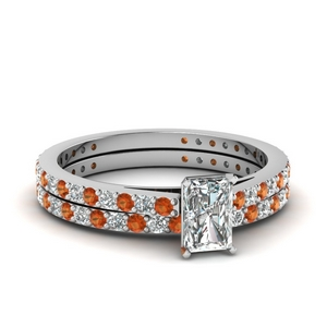 classic delicate radiant cut diamond wedding set with orange sapphire in FDENS1425RAGSAOR NL WG