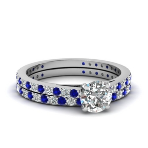 classic delicate round cut diaond wedding set with sapphire in FDENS1425ROGSABL NL WG