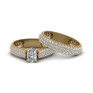 Cluster Diamond Bridal Ring Set