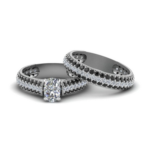 Platinum Black Diamond Pave Ring Set
