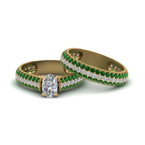 Micropave Emerald Bridal Set