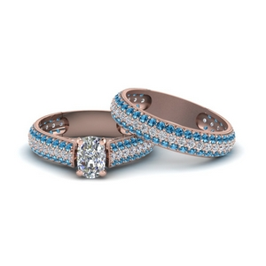 Pave Blue Topaz Milgrain Bridal Set