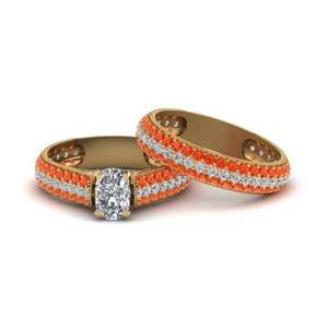 Orange Topaz Pave Bridal Ring Set
