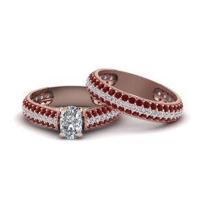 Micro Pave Wedding Ring Set