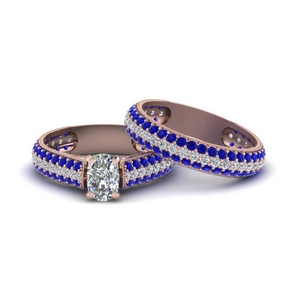Cushion Cut Sapphire Wedding Set