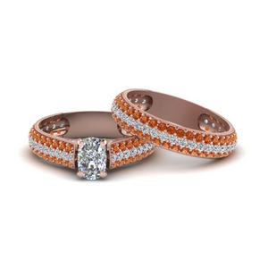 Wedding Set With Orange Sapphire