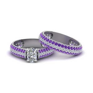 Purple Topaz Micropave Wedding Set