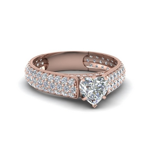 heart shaped milgrain multi row pave diamond engagement ring in 14K rose gold FDENS1452HTR NL RG