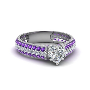 Milgrain Moissanite Micropave Ring