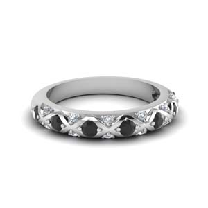 Cross Pave Black Diamond Band