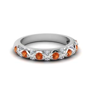 18K White Gold Orange Sapphire Band